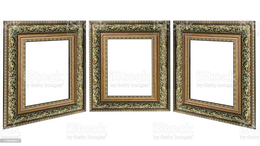 Três velhos antigo ouro moldura com um padrão isolado imagem foto de stock royalty-free