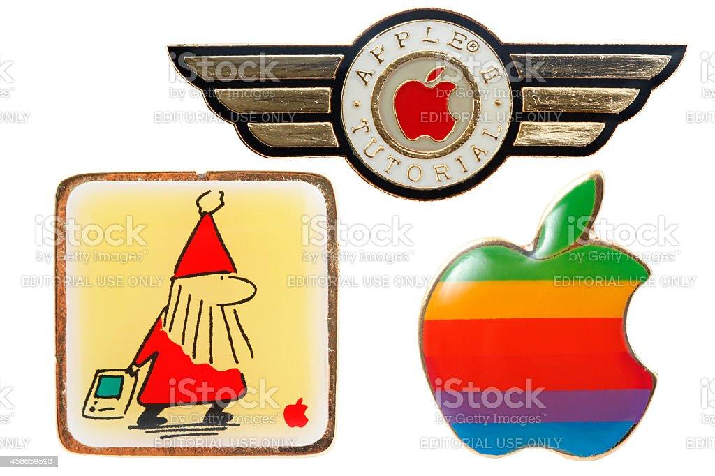 Three Old Apple Macintoch Pins royalty-free stock photo