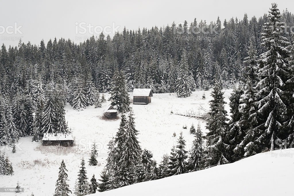 Three old cottages in Tatras royalty-free stock photo