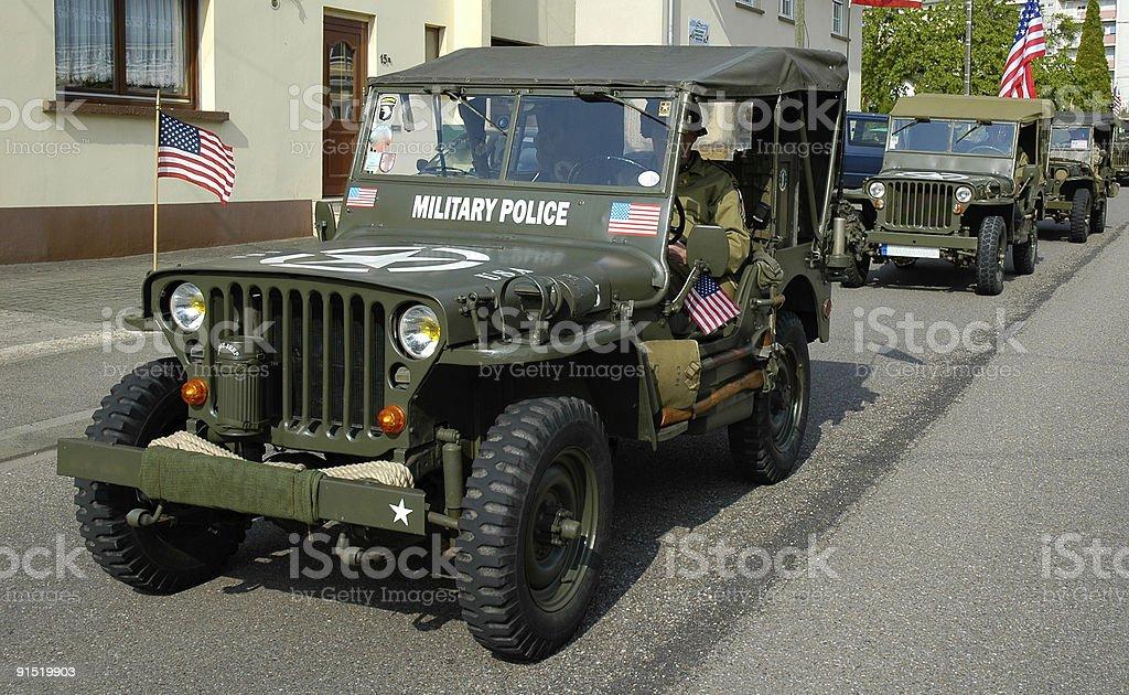 three old MP Jeep stock photo