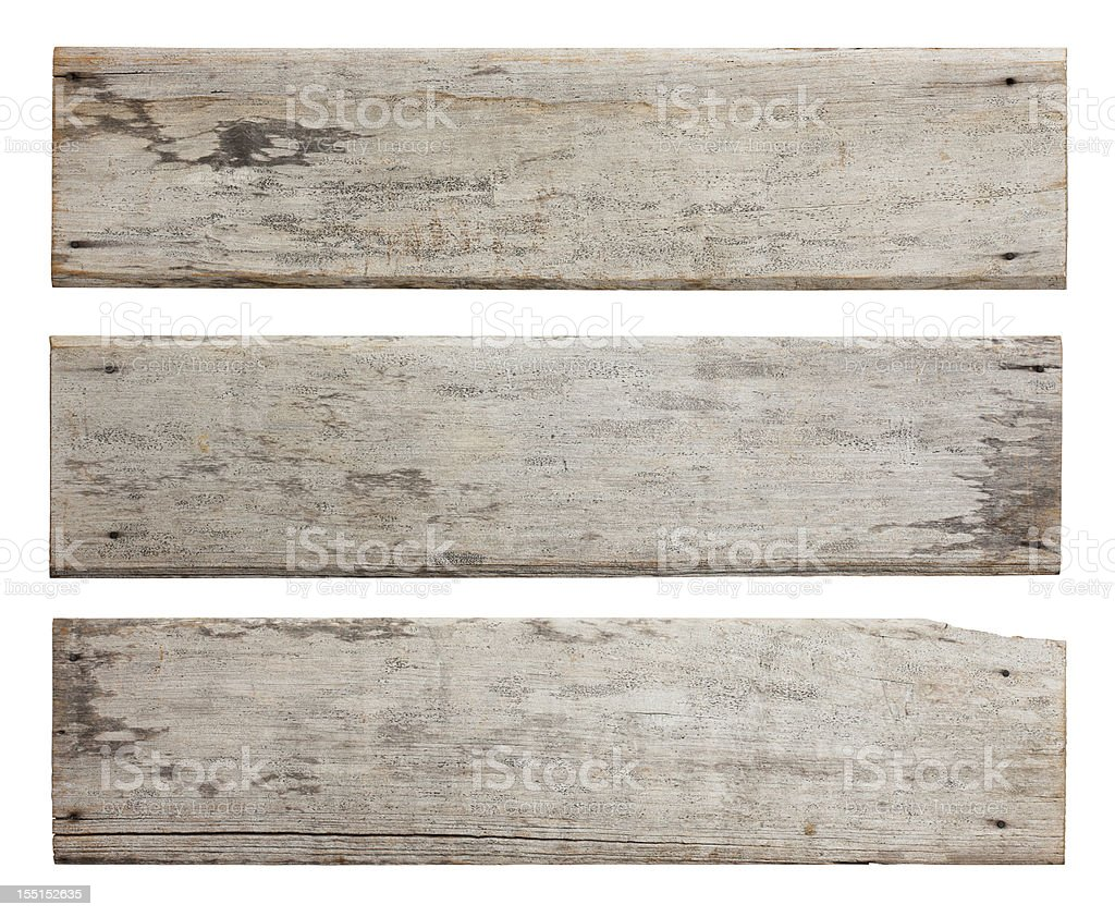 Three old weathered wood boards. royalty-free stock photo