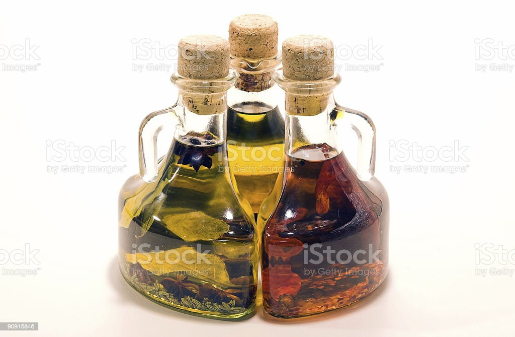 Three Olive Oil Bottles royalty-free stock photo