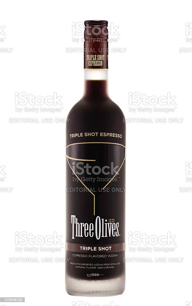 Three Olives Triple Shot Espresso vodka stock photo