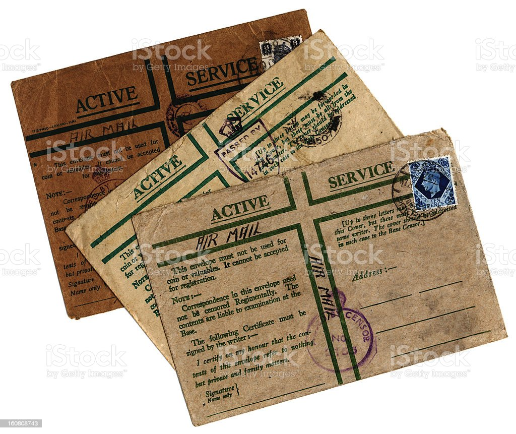 Three 'On Active Service' envelopes stock photo