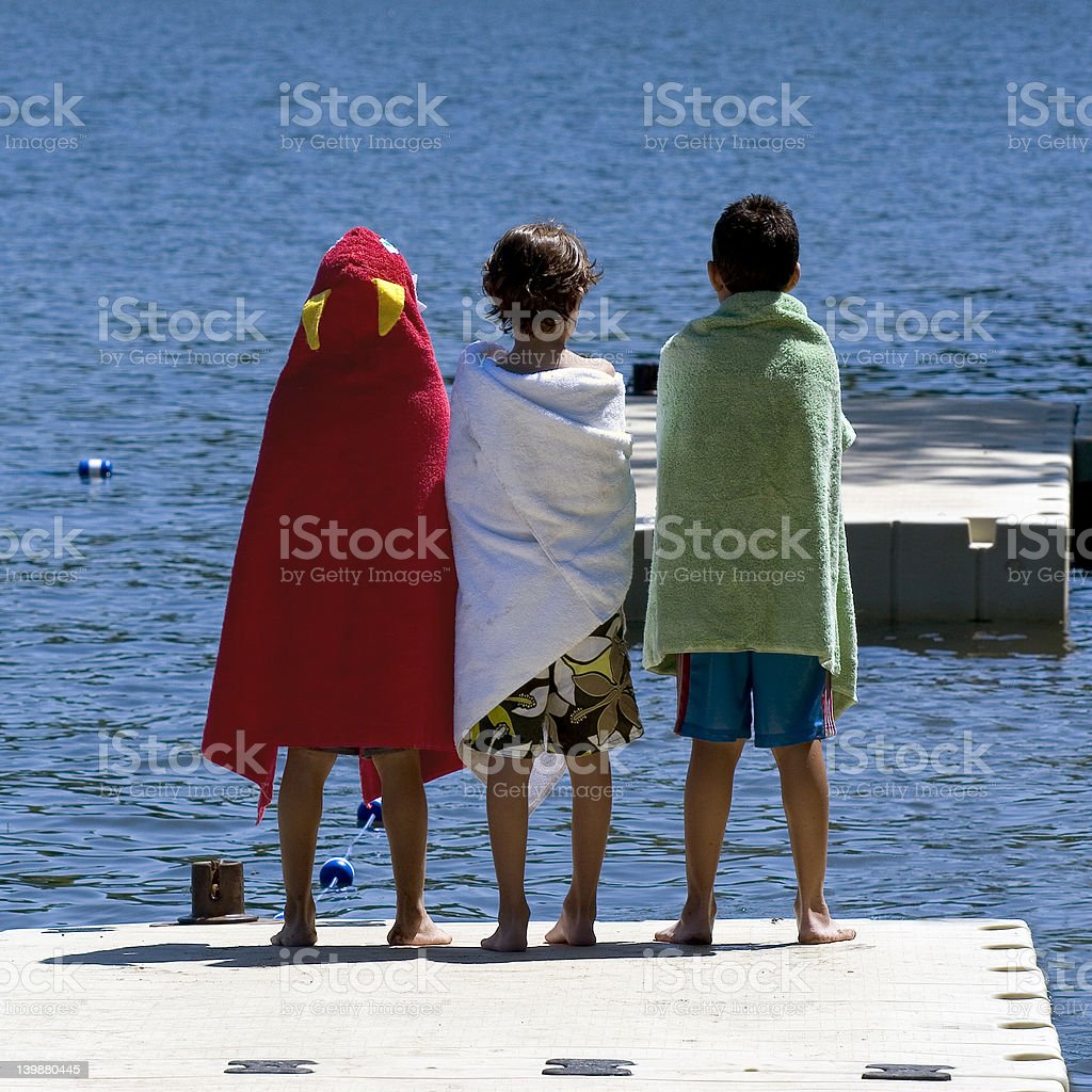 Three on the Dock royalty-free stock photo