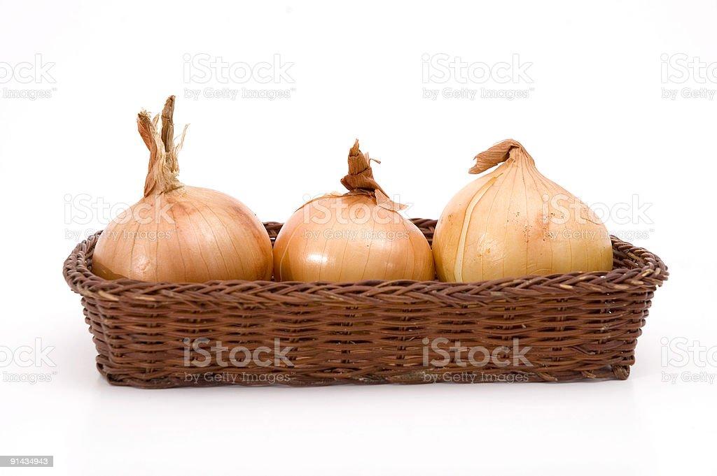 Three onions stock photo