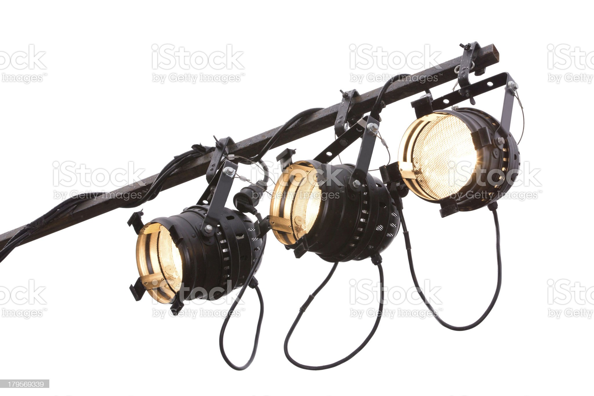 Three onstage spotlights on white royalty-free stock photo