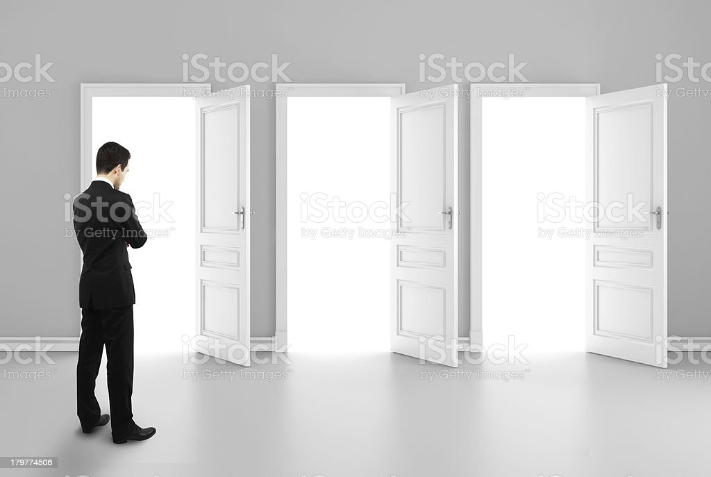 three opened doors stock photo
