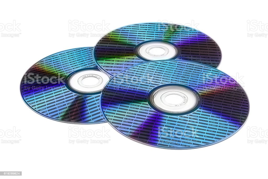 three optical disc with data stock photo