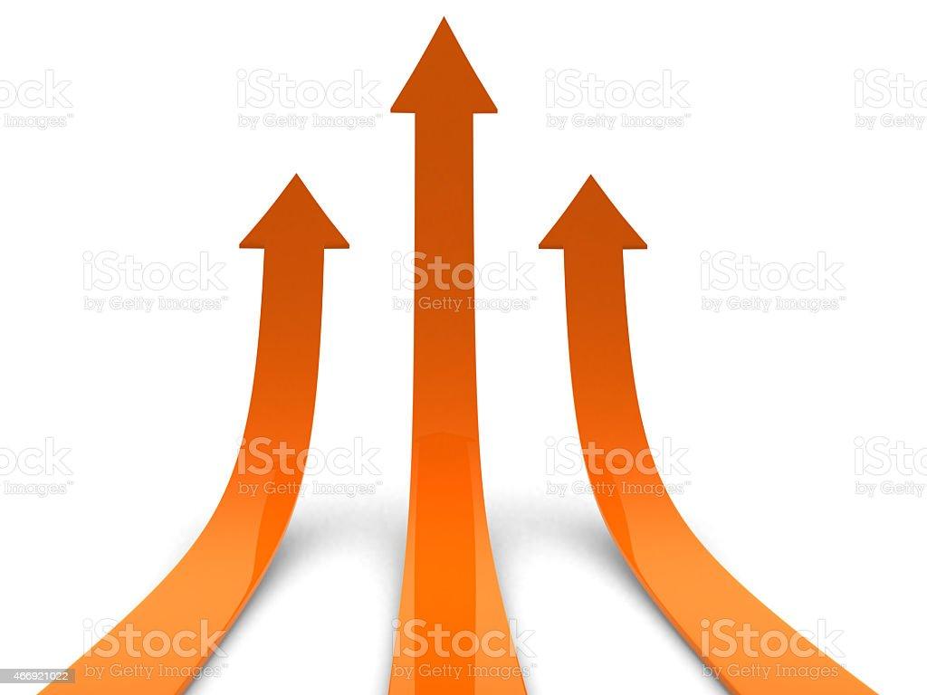 Three orange arrows going up stock photo