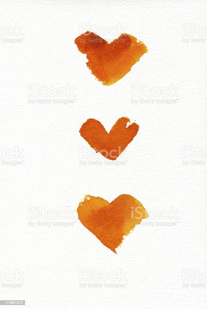Three orange hearts stock photo