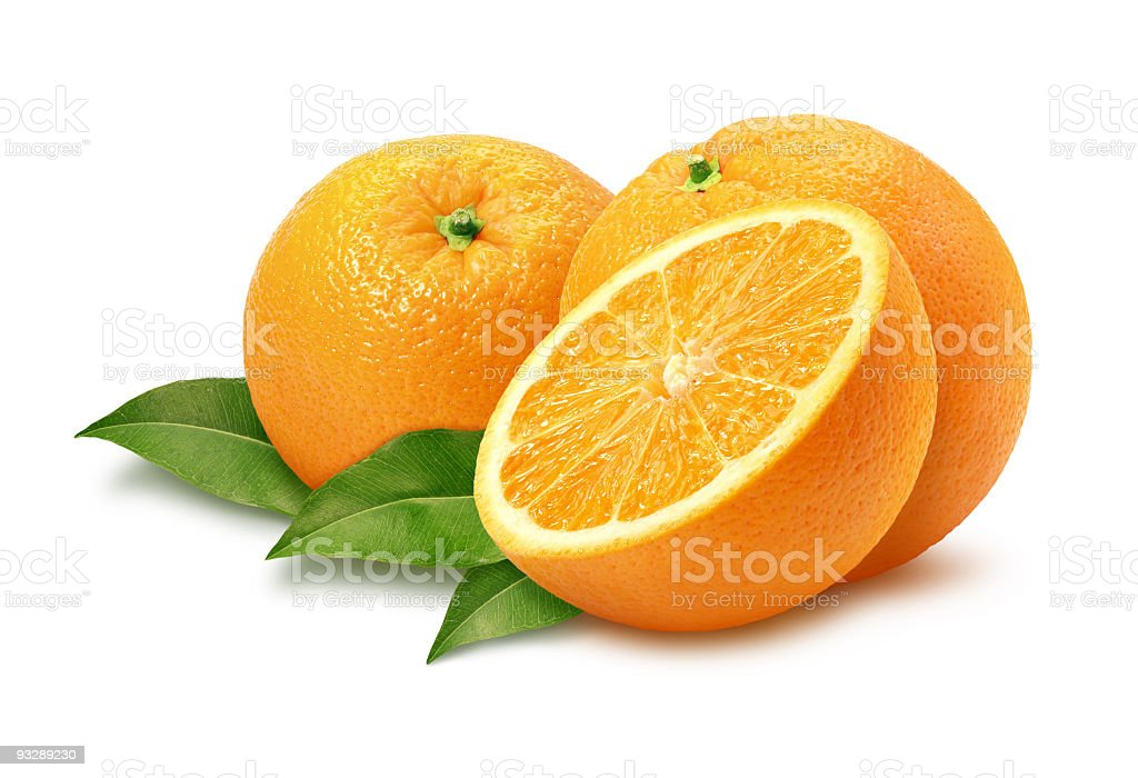 Three Oranges and Leaves isolated stock photo