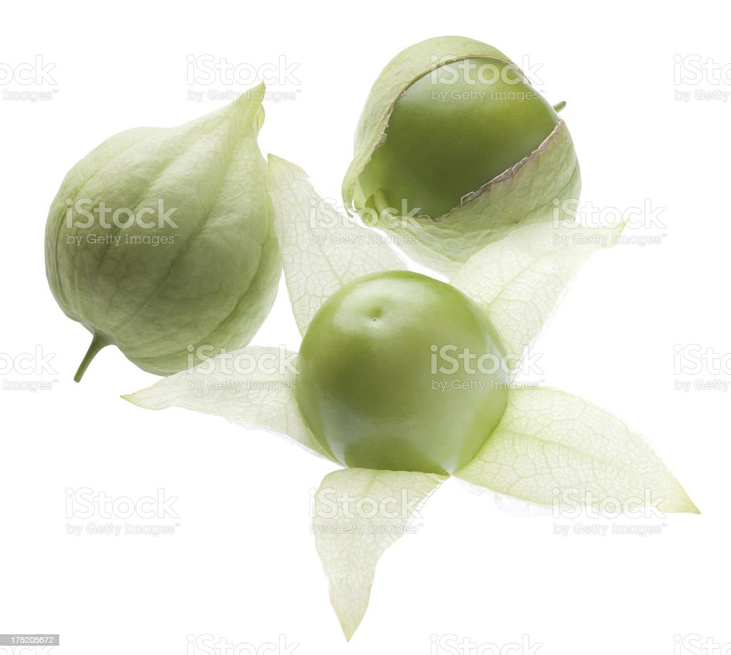 Three organic tomatillos backlit on white stock photo