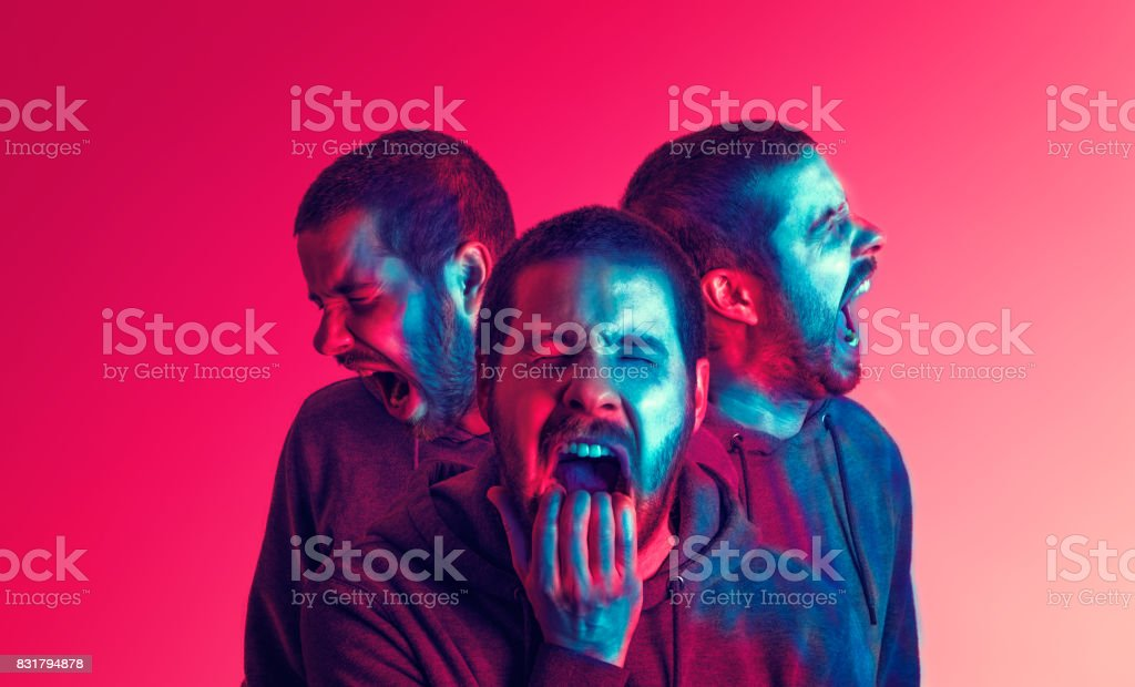Three orientations of a young man screaming stock photo