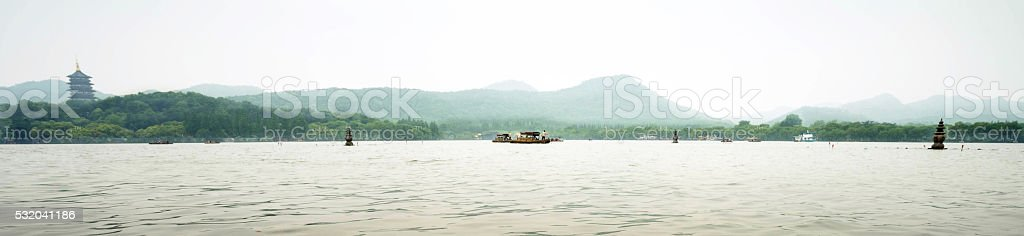 Three pagoda rocks in west lake stock photo