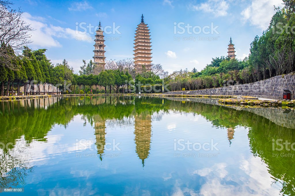 Three Pagodas of Chongshen Temple,Yunnan,China stock photo
