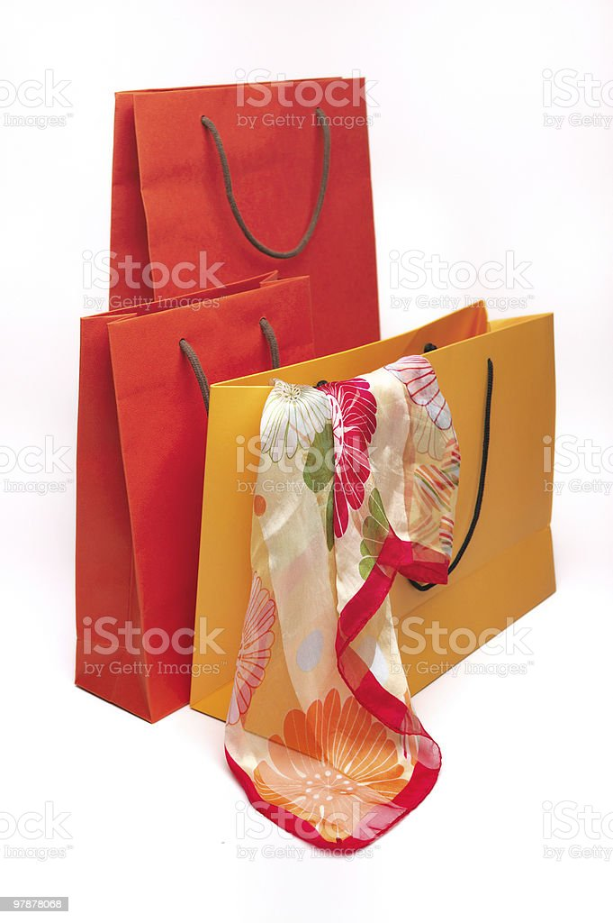 Three paper bags stock photo