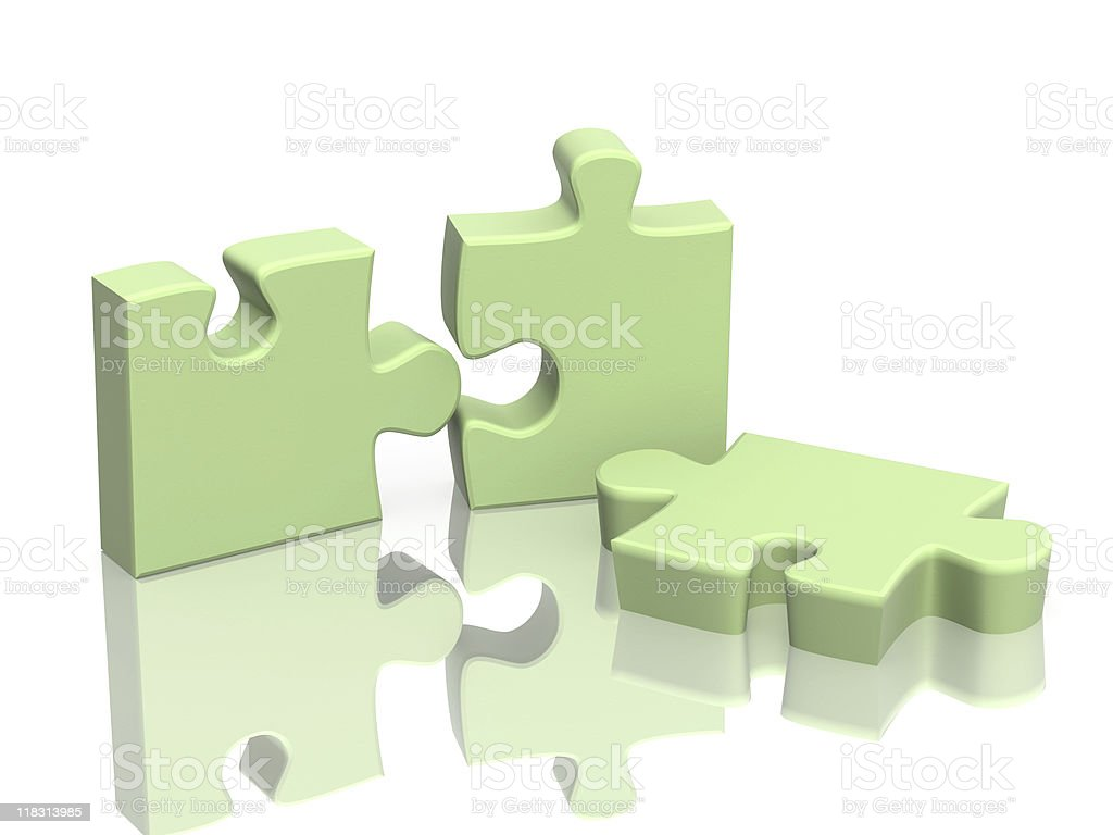 Three parts of a puzzle royalty-free stock photo