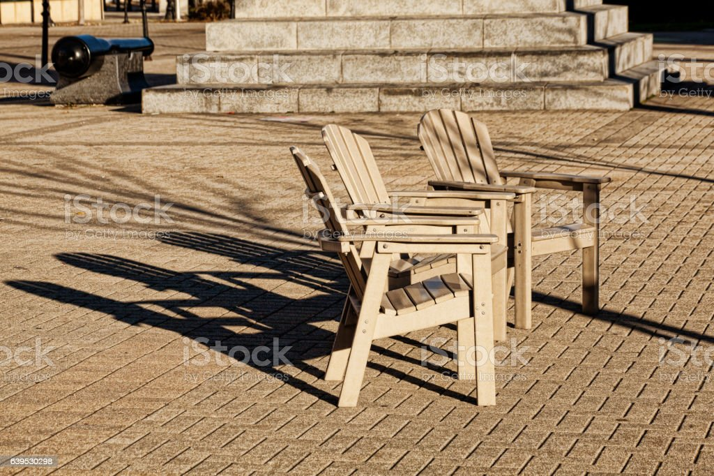 Three Patio Chairs stock photo