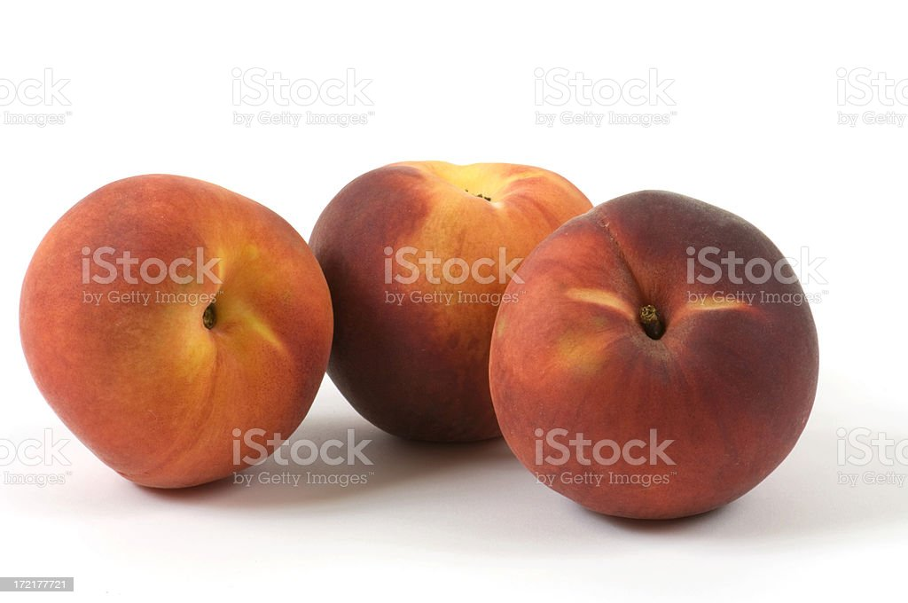 Three Peaches, Close Up White Background Horizontal royalty-free stock photo