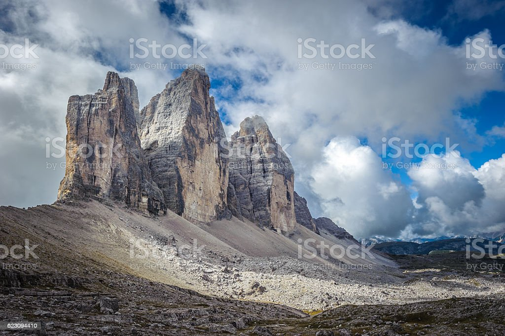 Three peaks. National Park Tre Cime di Lavaredo. Dolomites, Sout stock photo