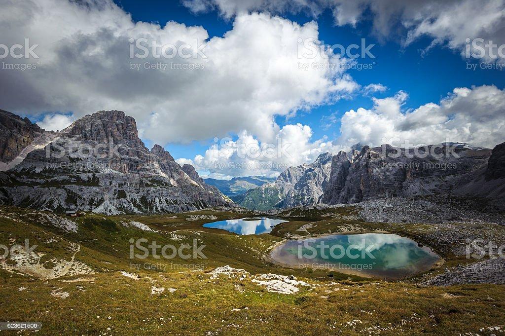 Three peaks. National Park Tre Cime di Lavaredo. Dolomites, Sout stock photo