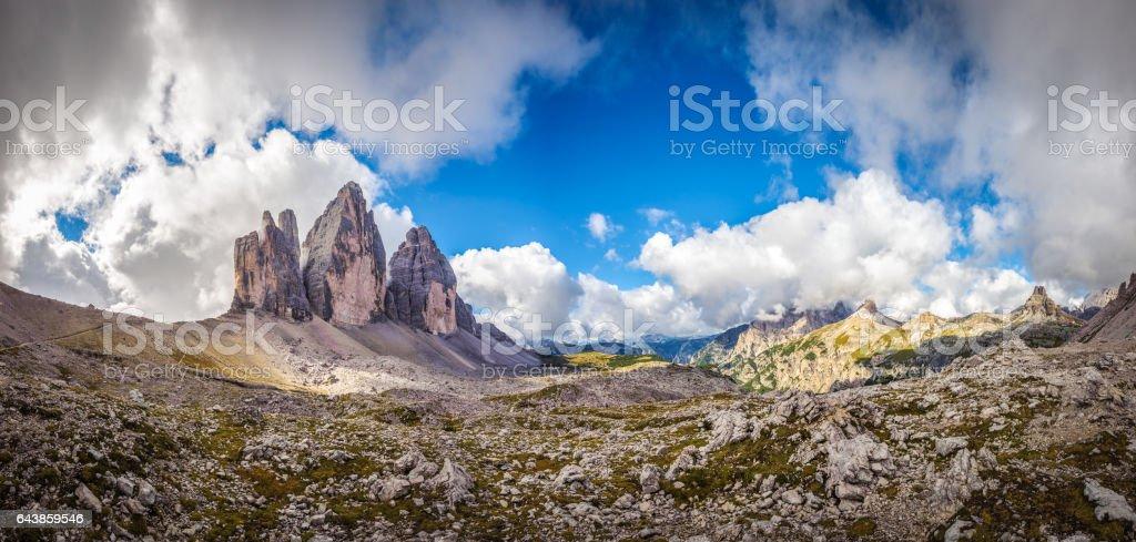 Three peaks. National Park Tre Cime di Lavaredo. stock photo