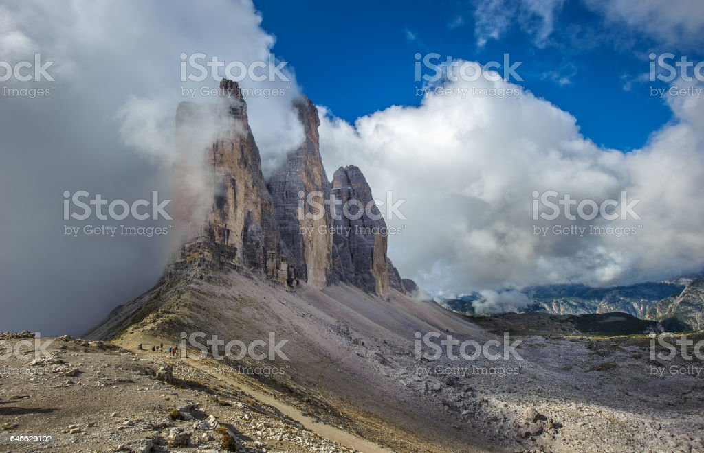 Three peaks. National Park Tre Cime di Lavaredo. stock photo
