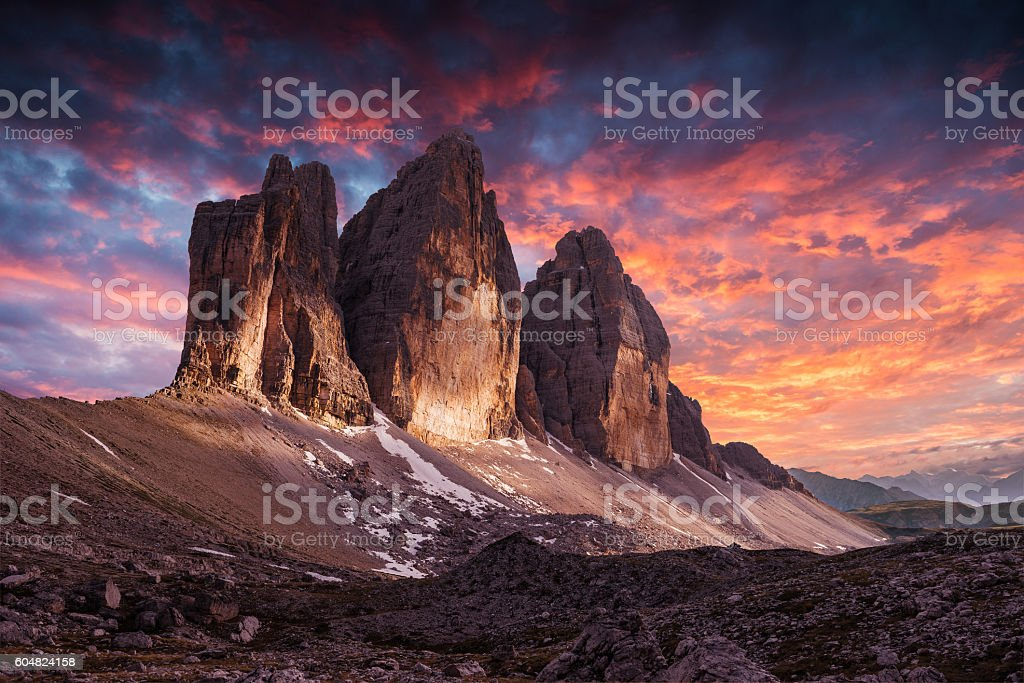 Tre Cime di Lavaredo. Dolomites alps. Italy stock photo
