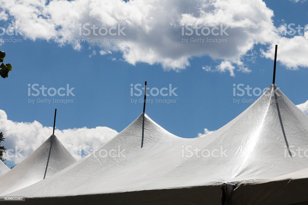 Three peaks on a white party tent stock photo