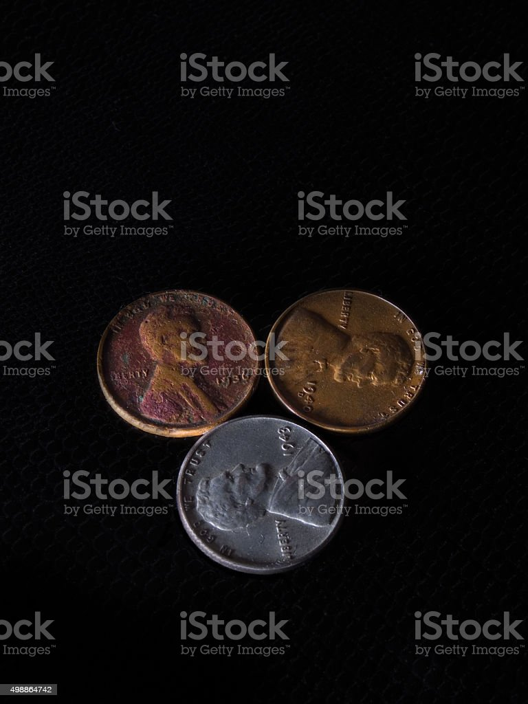 Three Pennies stock photo