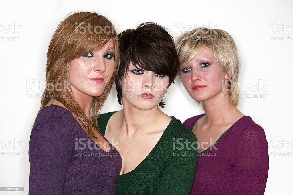 Three pensive sister's royalty-free stock photo