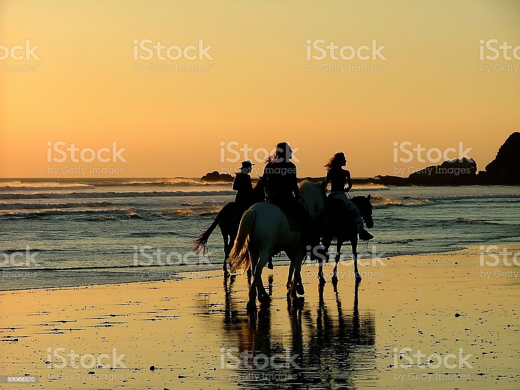Three people backlit riding horses on a beach at sunset stock photo