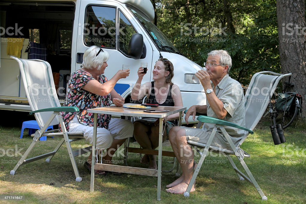 Three People Camping royalty-free stock photo