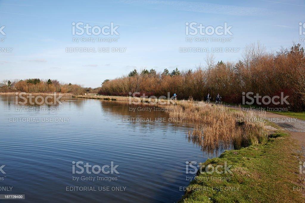 Three people cycling alongside a lake stock photo