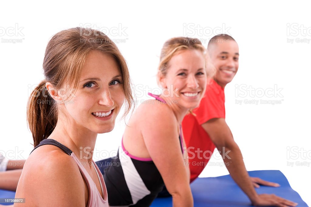 Three People Stretching royalty-free stock photo
