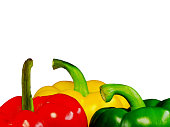 Three peppers of different colors: green, red, yellow