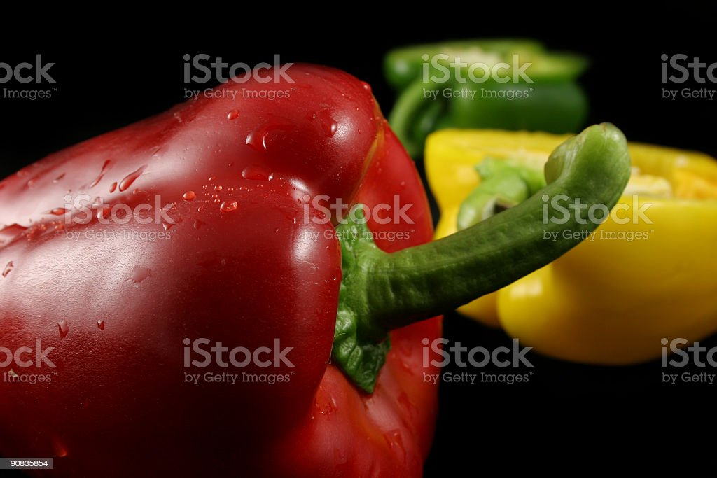 Three Peppers On Black stock photo