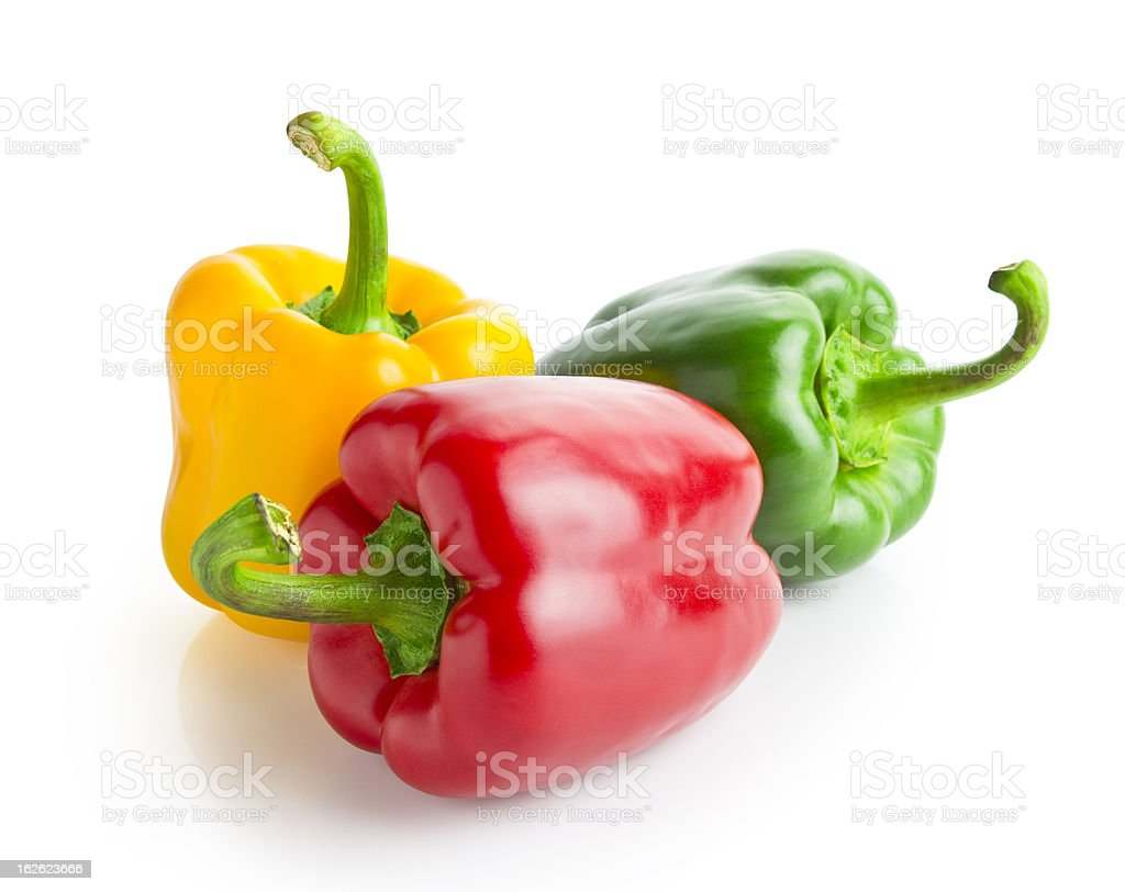 three peppers with clipping path stock photo