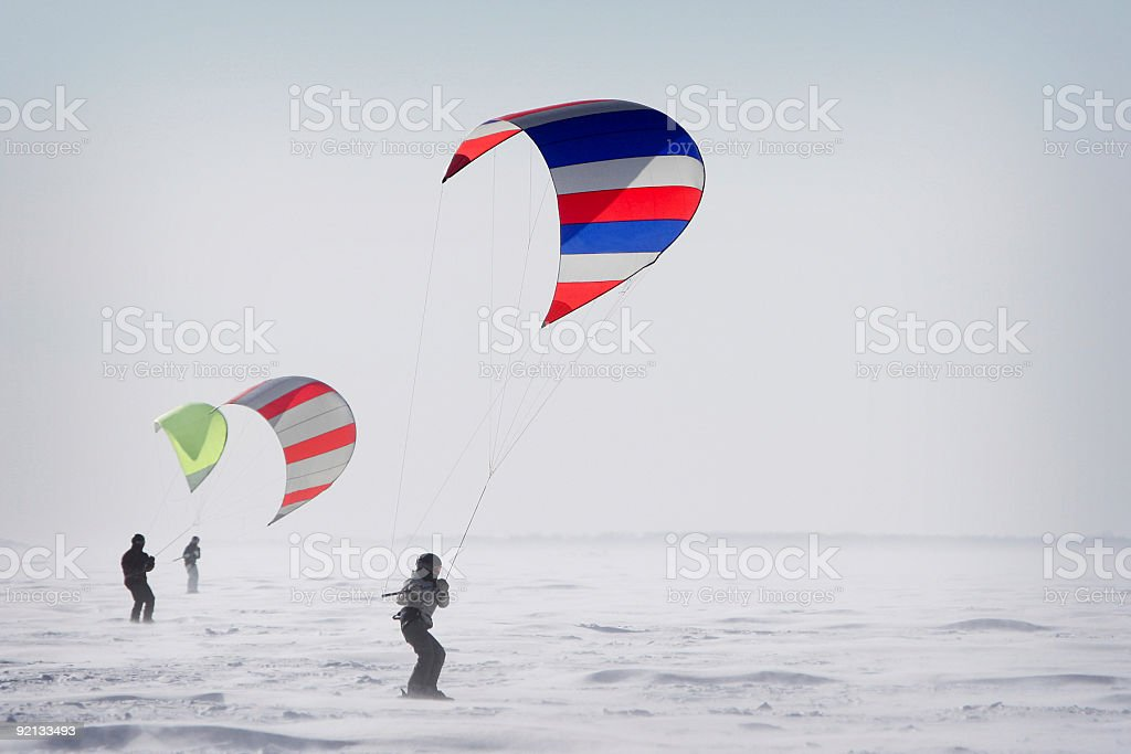 Three person practicing Para-ski stock photo