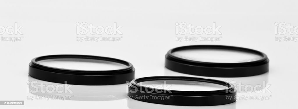 three photographic optical filters stock photo
