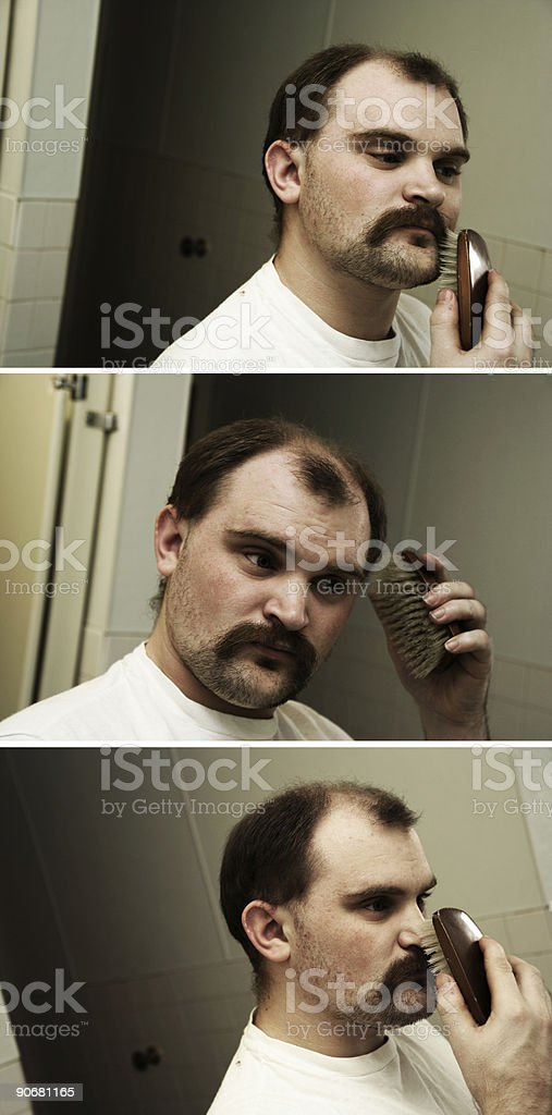 Three Photos of Young Man Grooming Himself royalty-free stock photo