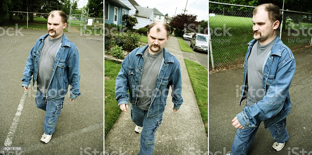 Three Pictures of a Man Walking royalty-free stock photo