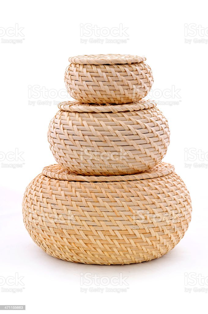 three pieces wicker baskets royalty-free stock photo