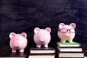 Three piggy banks with blackboard