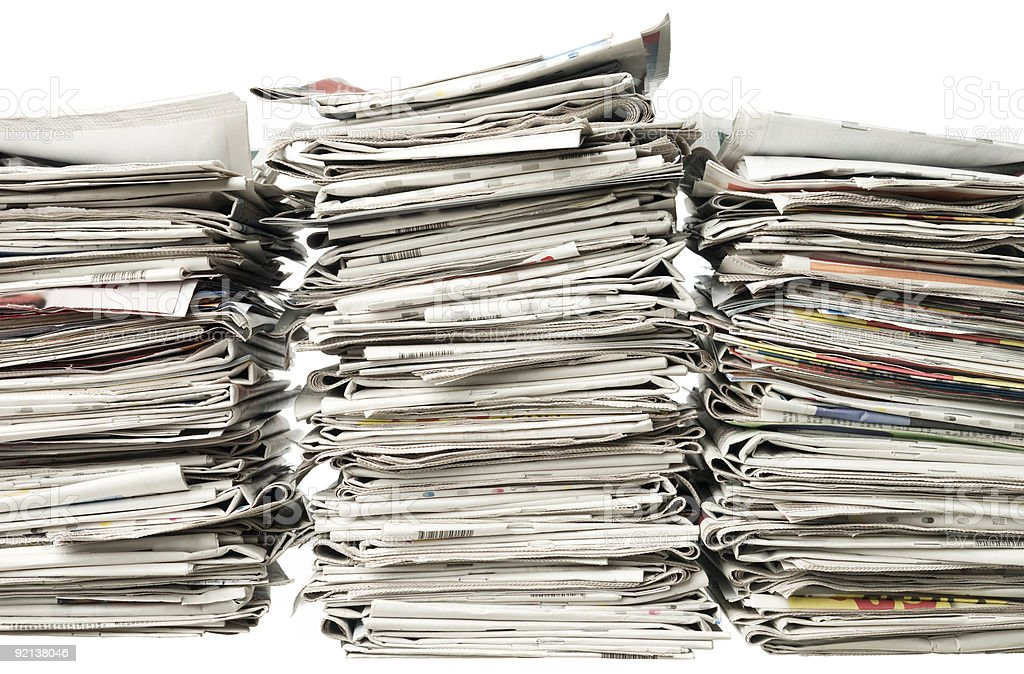 Three piles of newspapers royalty-free stock photo