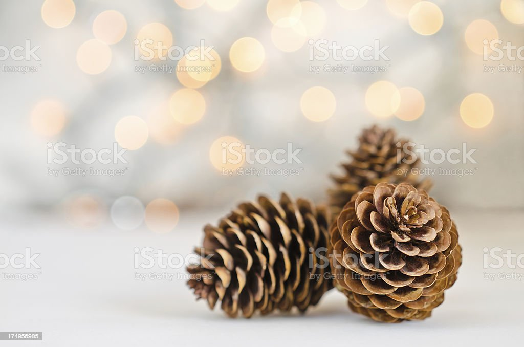 Three pinecones on blurred lights background. royalty-free stock photo