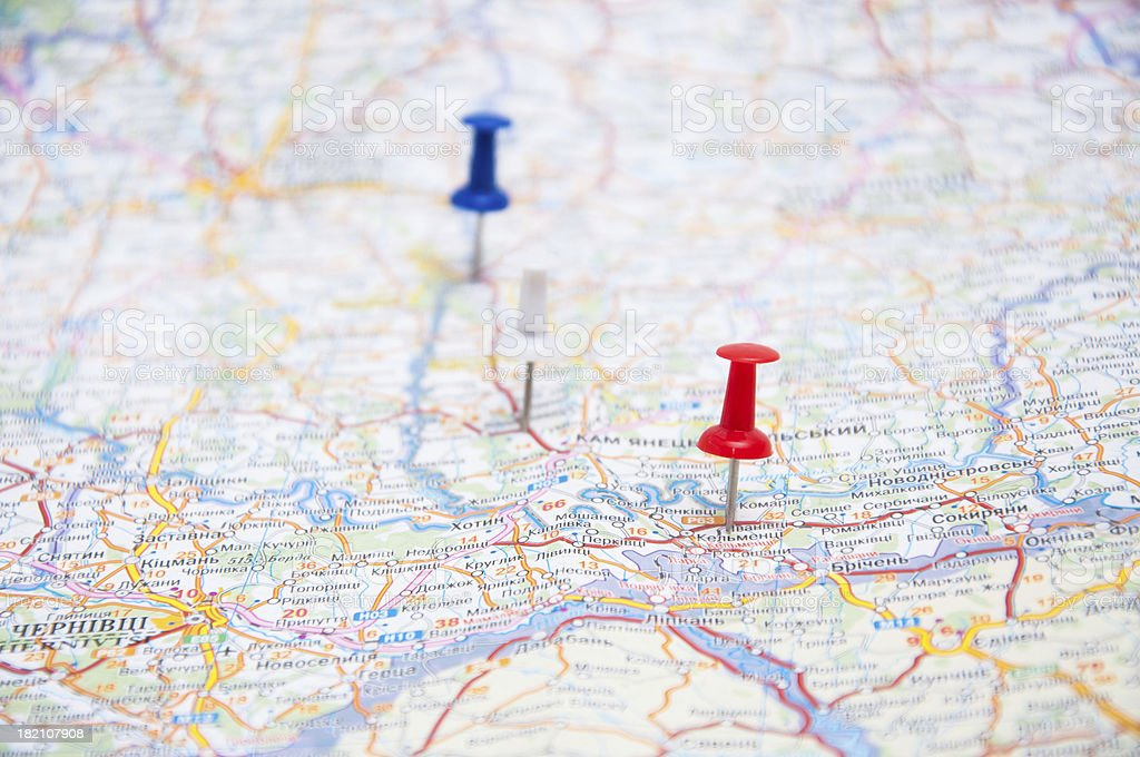 Three pins on a map stock photo