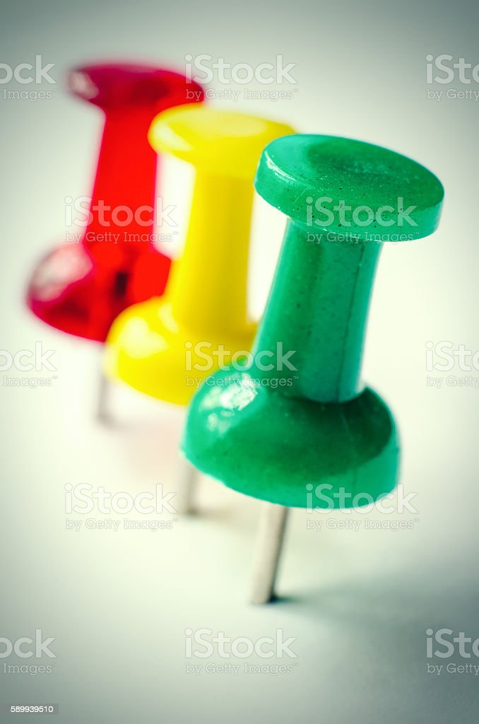 three pins stock photo