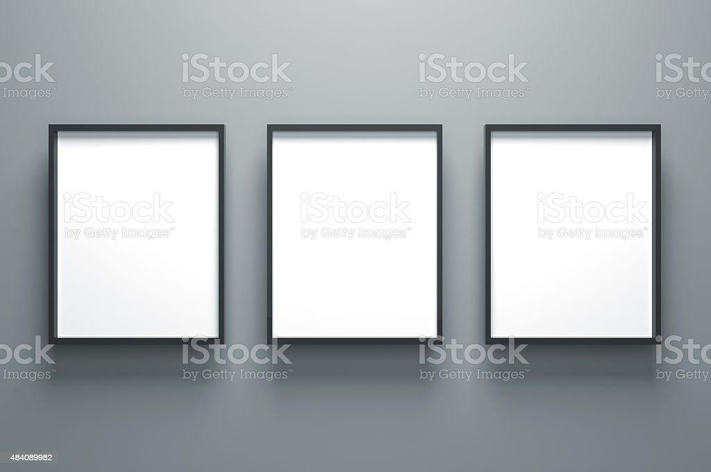 Three Plain Empty Picture Frame stock photo
